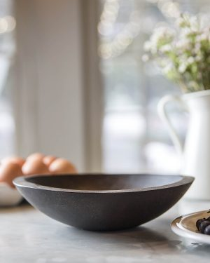 classic round black ebonized bowls