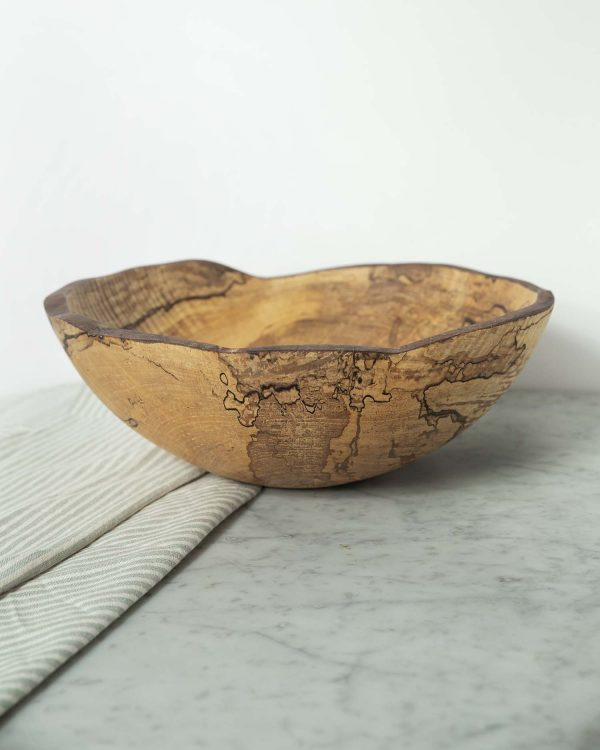 live edge spalted maple oval bowls