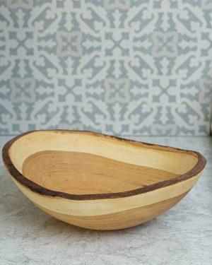 live edge cherry oval bowls